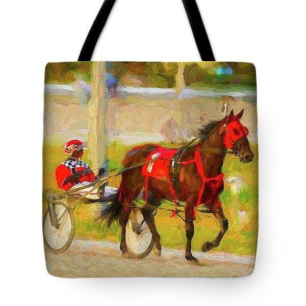 Horse, Harness And Jockey Tote Bag