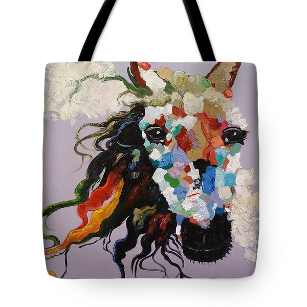Tote Bag featuring the painting Puzzle Horse Head  by Rosario Piazza
