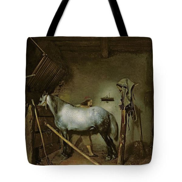Horse In A Stable Tote Bag by Gerard Terborch