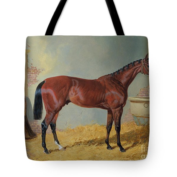 Horse In A Stable Tote Bag by John Frederick Herring Snr