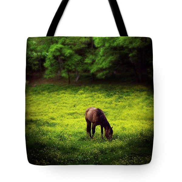 Tote Bag featuring the photograph Horse In Flowers by Greg Mimbs