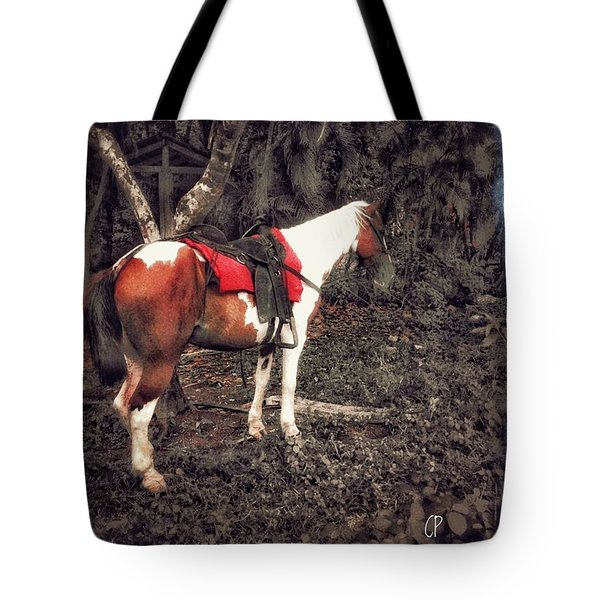 Horse In Red Tote Bag