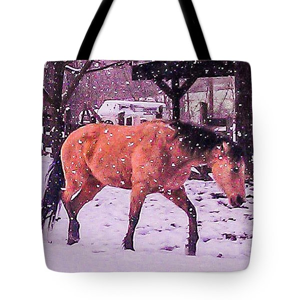 Horse In Snow Tote Bag