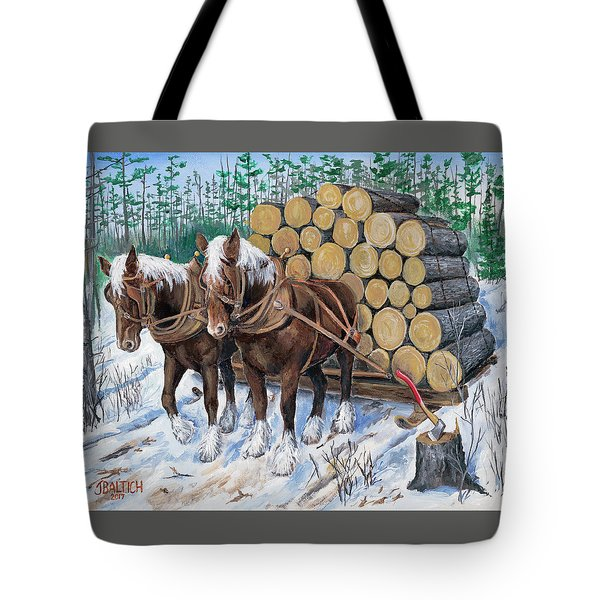 Horse Log Team Tote Bag