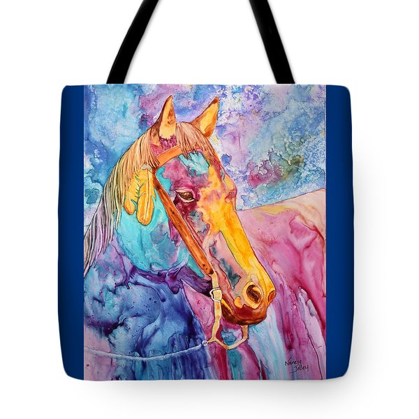 Horse Of Many Colors Tote Bag by Nancy Jolley