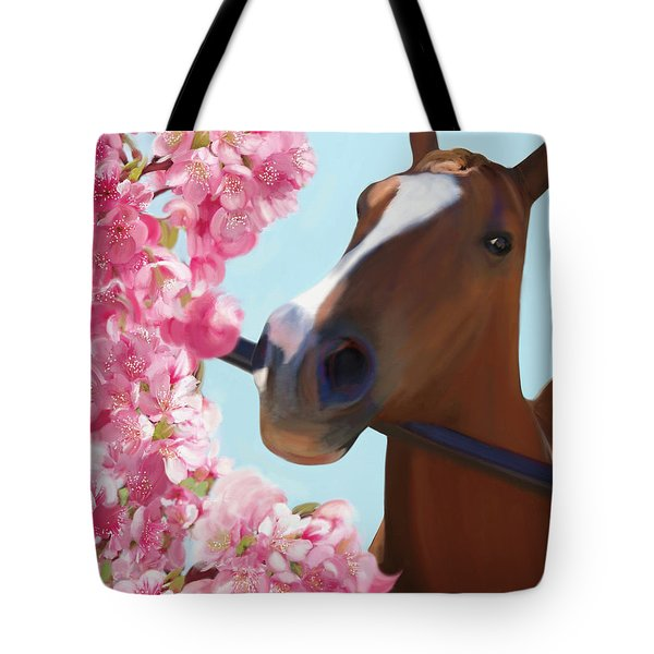 Horse Pink Blossoms Tote Bag by Julianne Ososke