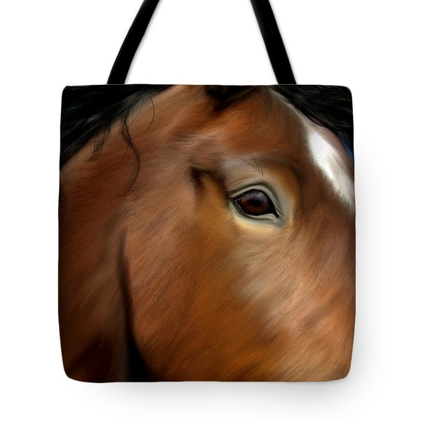 Horse Portrait Close Up Tote Bag