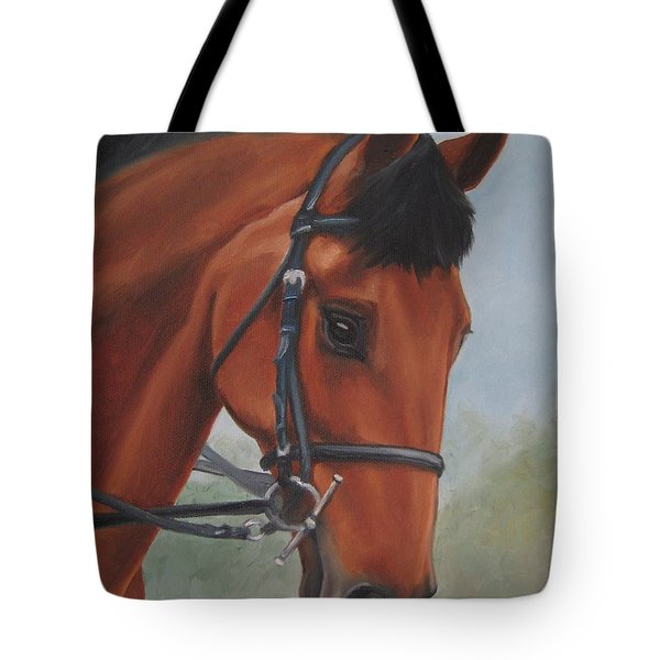 Tote Bag featuring the painting Horse Portrait by Jindra Noewi
