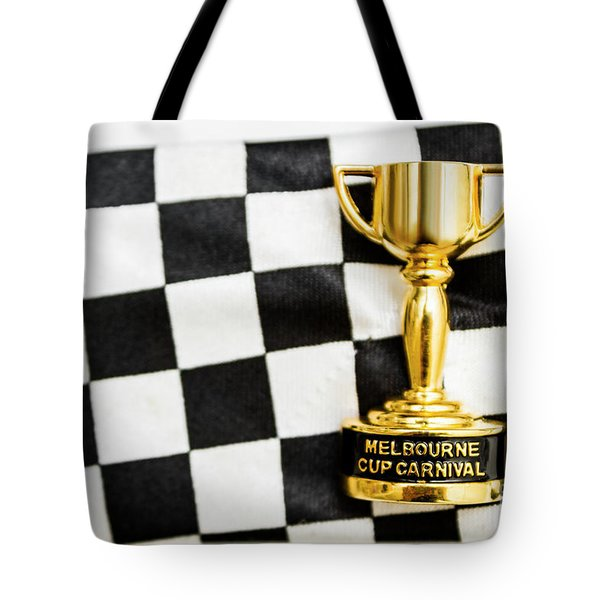 Horse Races Trophy. Melbourne Cup Win Tote Bag