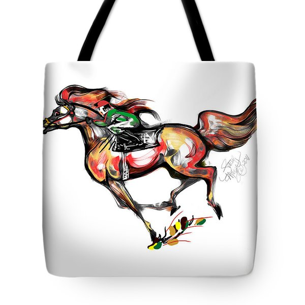 Horse Racing In Fast Colors Tote Bag