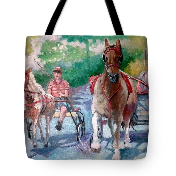 Tote Bag featuring the painting Horse Racing by Paul Weerasekera
