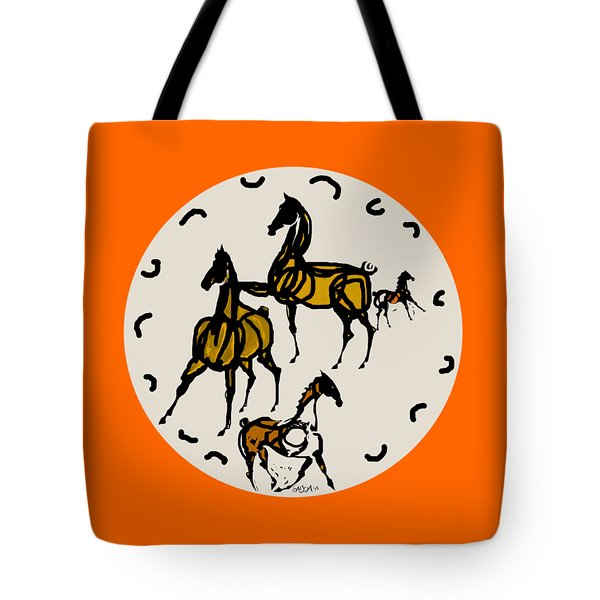Horse Red And Gold Tote Bag by Mary Armstrong