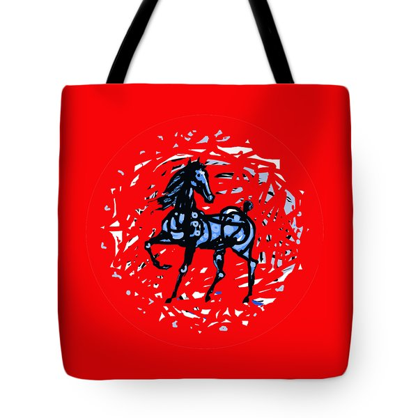 Horse Red Plate A Tote Bag by Mary Armstrong