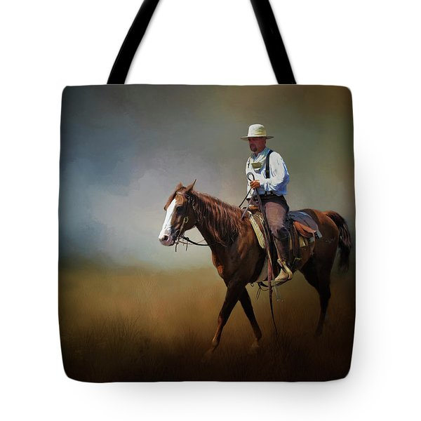 Tote Bag featuring the photograph Horse Ride At The End Of Day by David and Carol Kelly