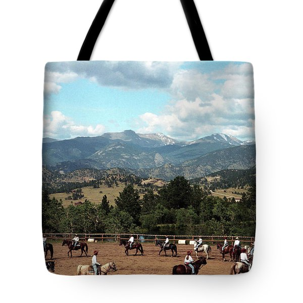 Tote Bag featuring the photograph Horse Riding In Colorado by Emanuel Tanjala