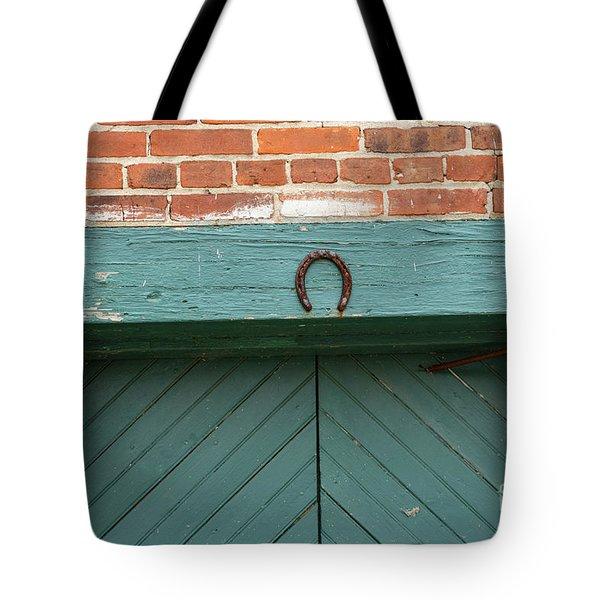 Horse Shoe On Old Door Frame Tote Bag