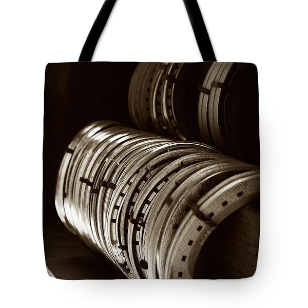 Tote Bag featuring the photograph Horse Shoes In Sepia by Angela Rath