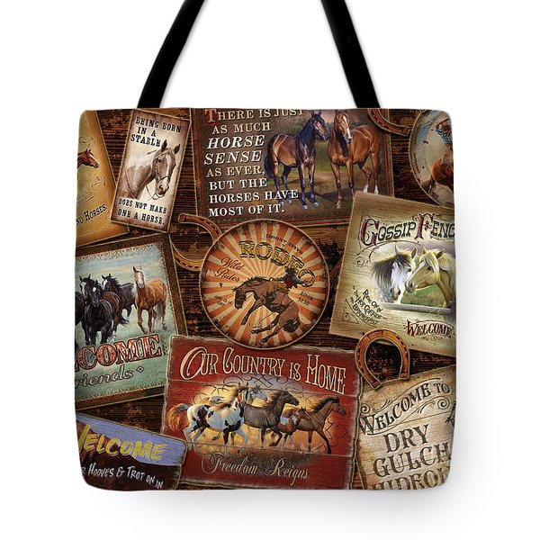Horse Sign Collage Tote Bag