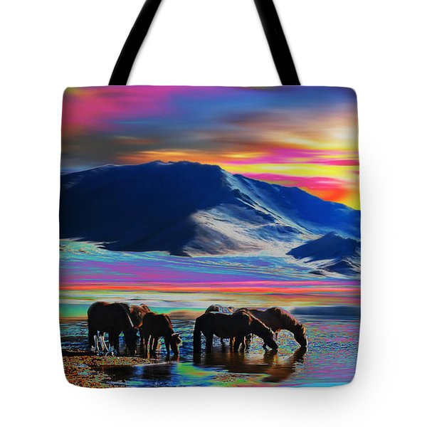Horse Sunrise Tote Bag
