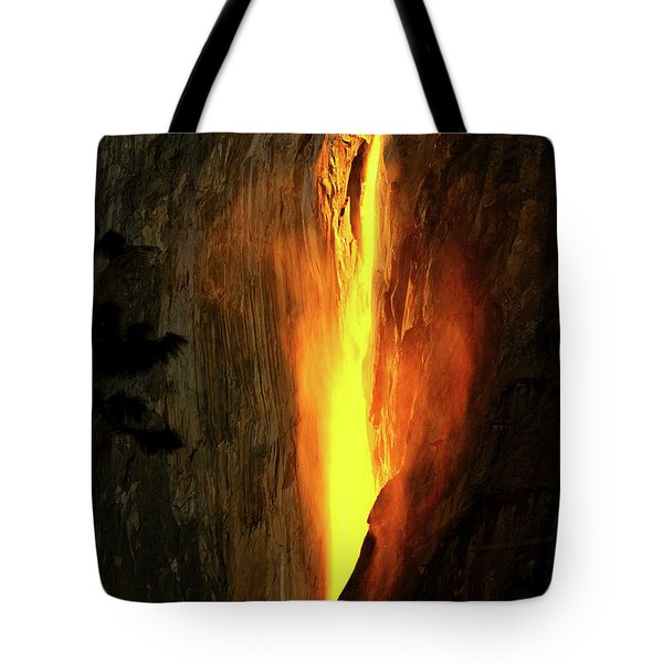 Tote Bag featuring the photograph Horse Tail Fall Aglow by Greg Norrell