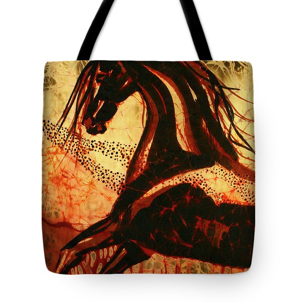 Horse Through Web Of Fire Tote Bag by Carol Law Conklin
