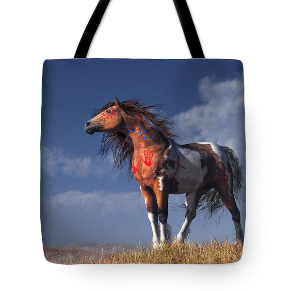Tote Bag featuring the digital art Horse With War Paint by Daniel Eskridge