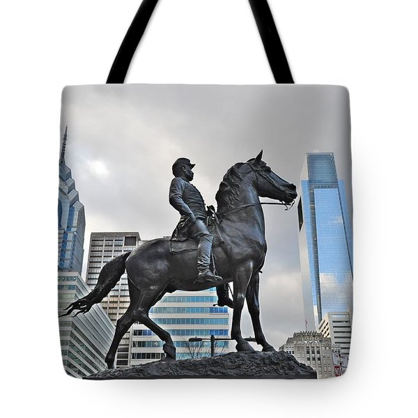 Horseman Between Sky Scrapers Tote Bag by Bill Cannon