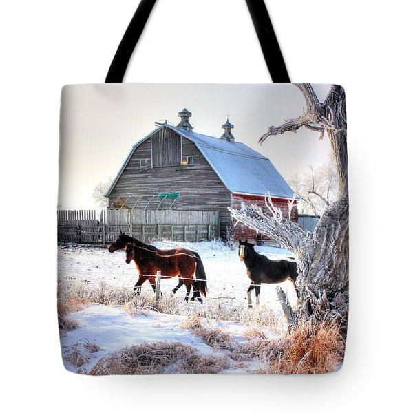 Horses And Barn Tote Bag