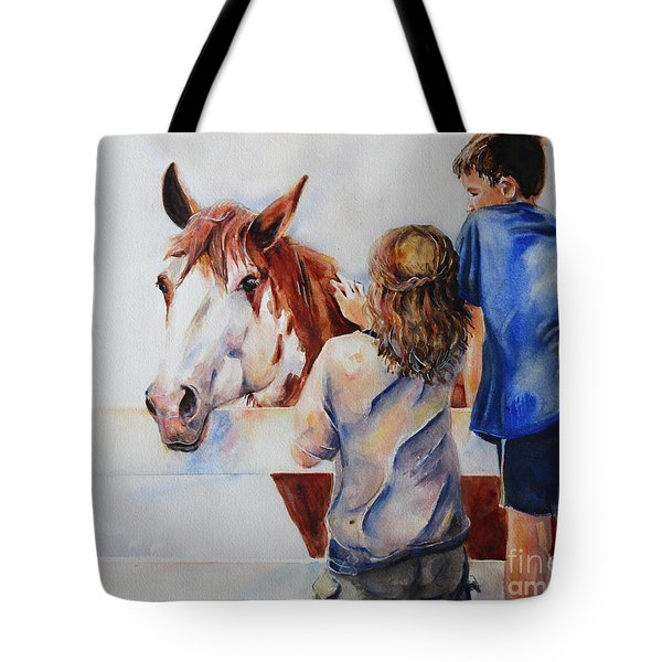 Horses And Children Painting Tote Bag by Maria's Watercolor