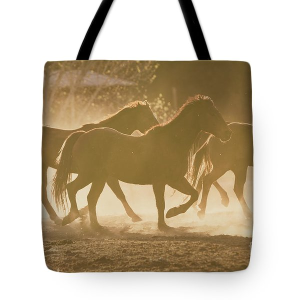 Tote Bag featuring the photograph Horses And Dust by Ana V Ramirez