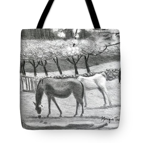 Horses And Trees In Bloom Tote Bag