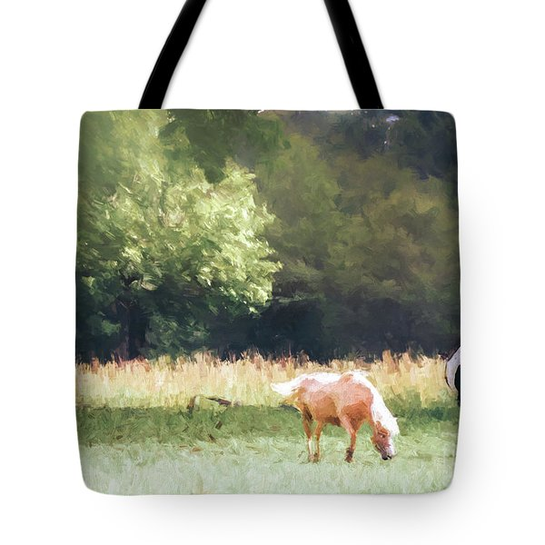 Tote Bag featuring the photograph Horses by Andrea Anderegg
