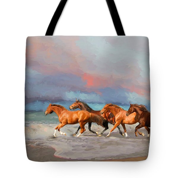 Horses At The Beach Tote Bag by Mim White