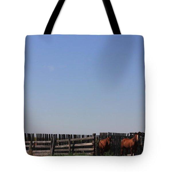 Horses - Corrals - And Alberta Prairie Sky Tote Bag by Jim Sauchyn