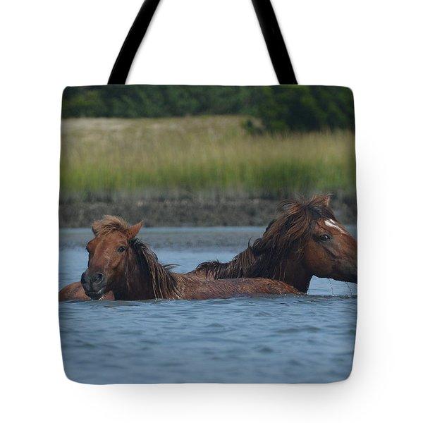 Horses Crossing Tote Bag