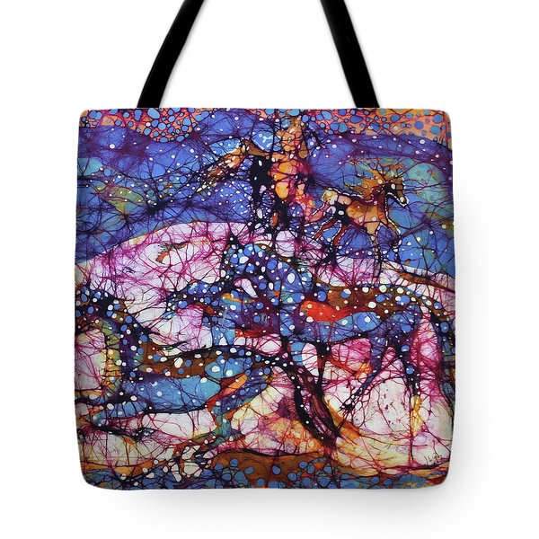 Horses Gallop In Snowfields Tote Bag