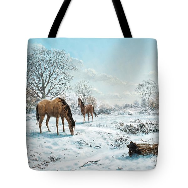 Tote Bag featuring the digital art Horses In Countryside Snow by Martin Davey