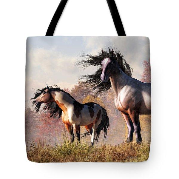 Tote Bag featuring the digital art Horses In Fall by Daniel Eskridge
