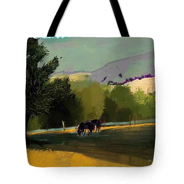 Horses In Field Tote Bag