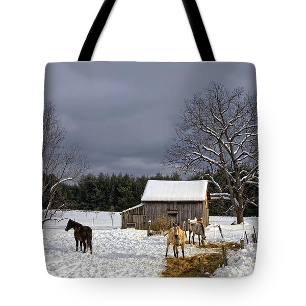 Tote Bag featuring the photograph Horses In Snow by Ken Barrett