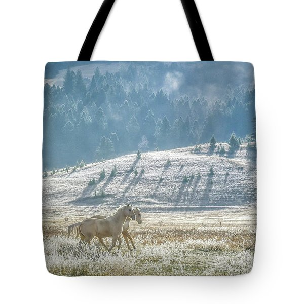 Horses In The Frost Tote Bag