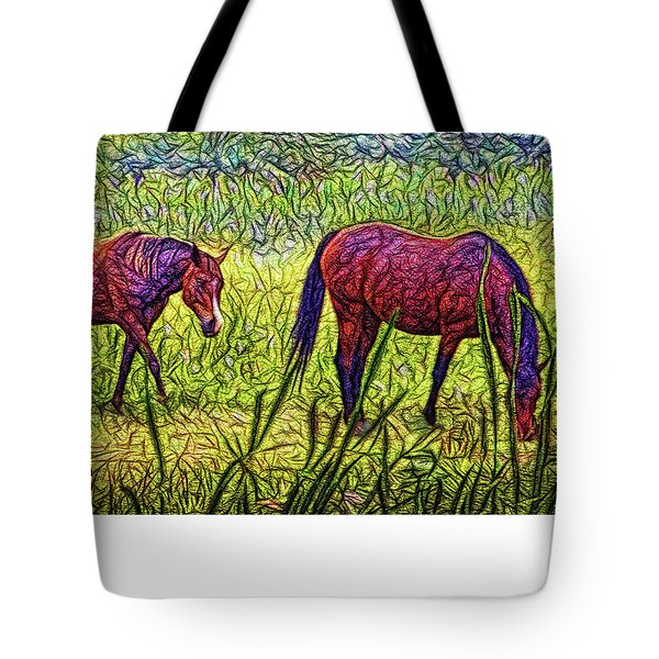 Horses In Tranquil Field Tote Bag by Joel Bruce Wallach