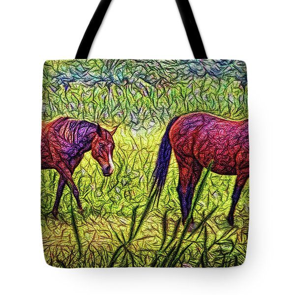 Horses In Tranquil Field Tote Bag