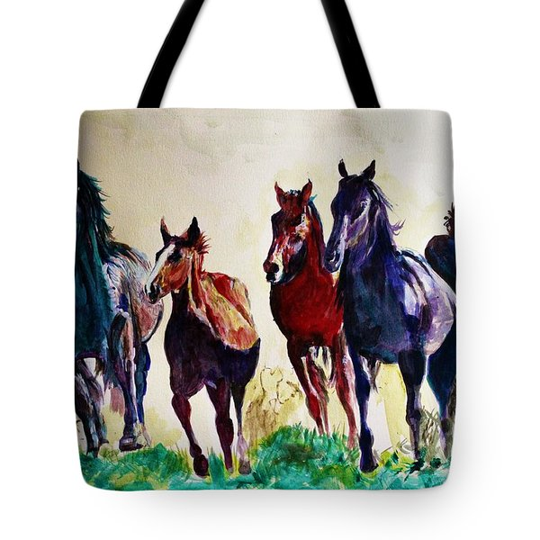Horses In Wild Tote Bag