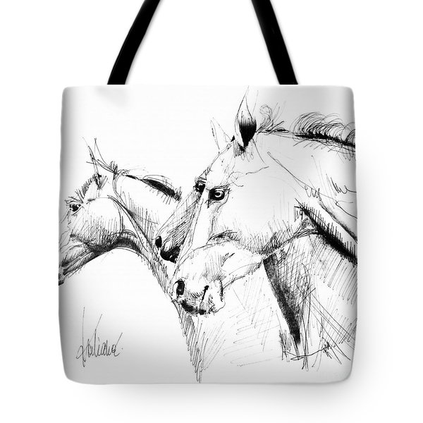 Horses - Ink Drawing Tote Bag