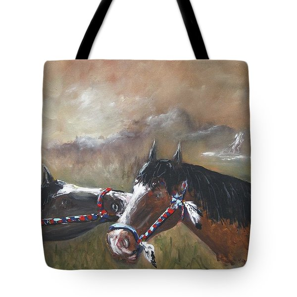 Tote Bag featuring the painting  Horses by Miroslaw  Chelchowski