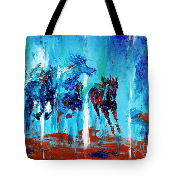 Horses Of Jeremaih Tote Bag by Lidija Ivanek - SiLa