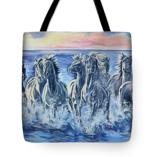 Horses Of The Sea Tote Bag by Jana Goode