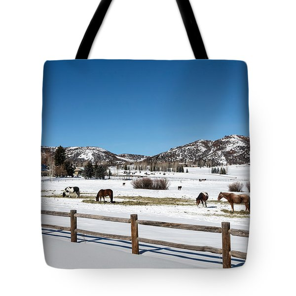 Horses On A Small Farm Near The Aspen Airport Tote Bag