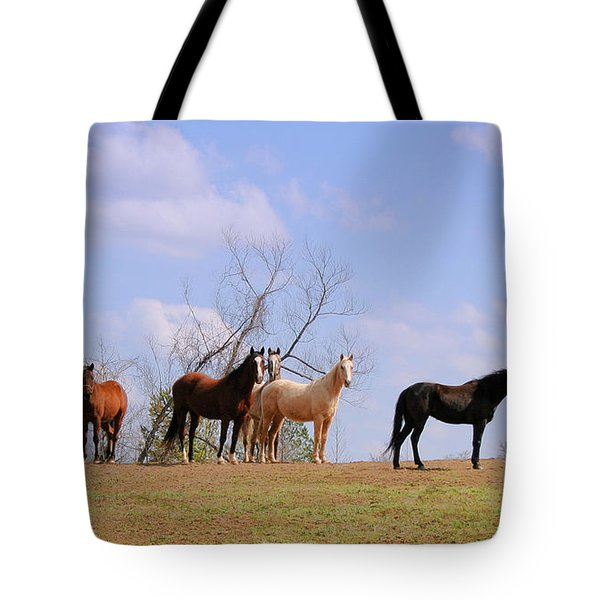 Tote Bag featuring the photograph Horses On The Hill by Bonnie Willis